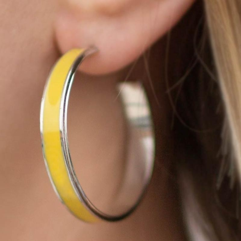Wicked Wonders VIP Bling Earrings Pop Culture Yellow Hoop Earrings Affordable Bling_Bling Fashion Paparazzi