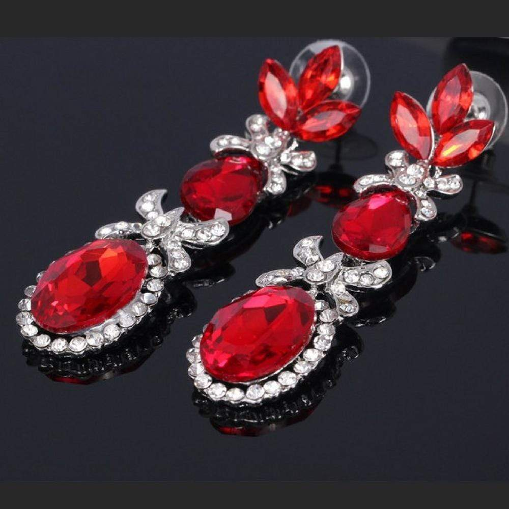 Wicked Wonders VIP Bling Earrings Queen of the Three Red Gem Statement Earrings Affordable Bling_Bling Fashion Paparazzi