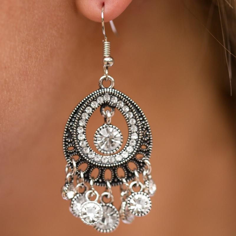 Wicked Wonders VIP Bling Earrings Richly Radiant White Gem Earrings Affordable Bling_Bling Fashion Paparazzi