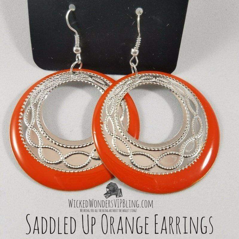 Wicked Wonders VIP Bling Earrings Saddled Up Orange Earrings Affordable Bling_Bling Fashion Paparazzi