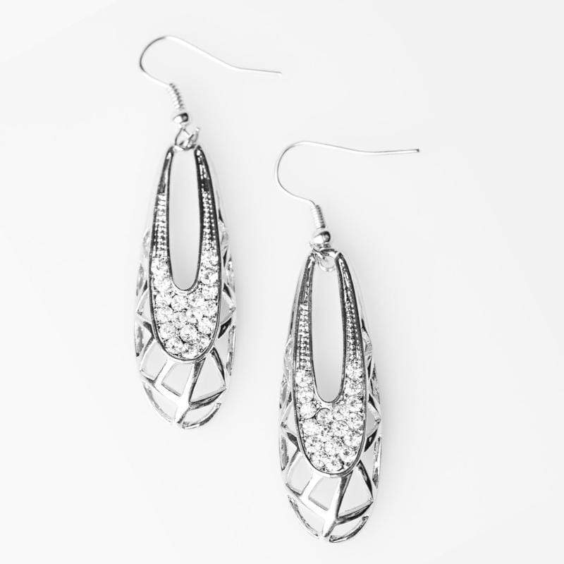 Wicked Wonders VIP Bling Earrings So DIVA-ous White Rhinestone Earrings Affordable Bling_Bling Fashion Paparazzi
