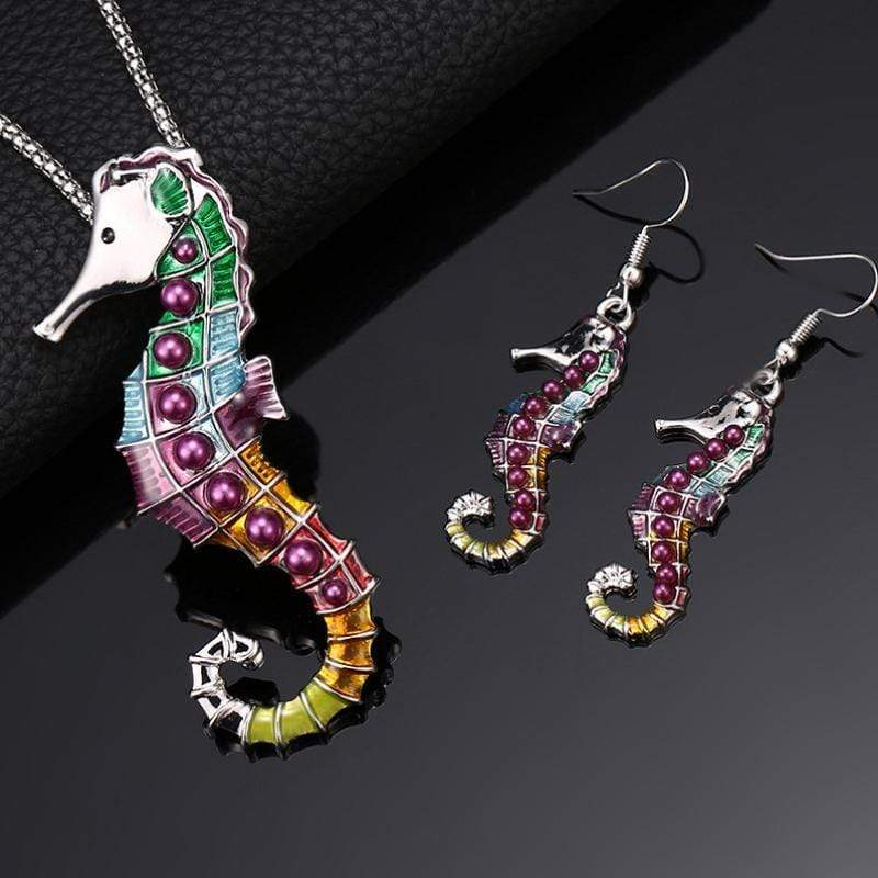 Wicked Wonders VIP Bling Earrings Song of the Seahorse Multi-Colored Necklace and Earrings Affordable Bling_Bling Fashion Paparazzi