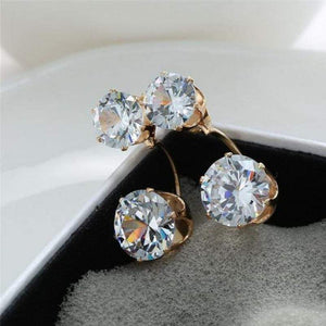 Wicked Wonders VIP Bling Earrings Starlet Squadron Gold & White Rhinestone Post Earrings Affordable Bling_Bling Fashion Paparazzi