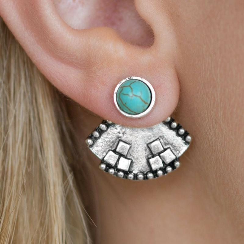Wicked Wonders VIP Bling Earrings Stylishly Santa Fe Blue Ear Jacket Post Earrings Affordable Bling_Bling Fashion Paparazzi