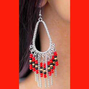 Wicked Wonders VIP Bling Earrings Summerfest Red Seed Bead Earrings Affordable Bling_Bling Fashion Paparazzi