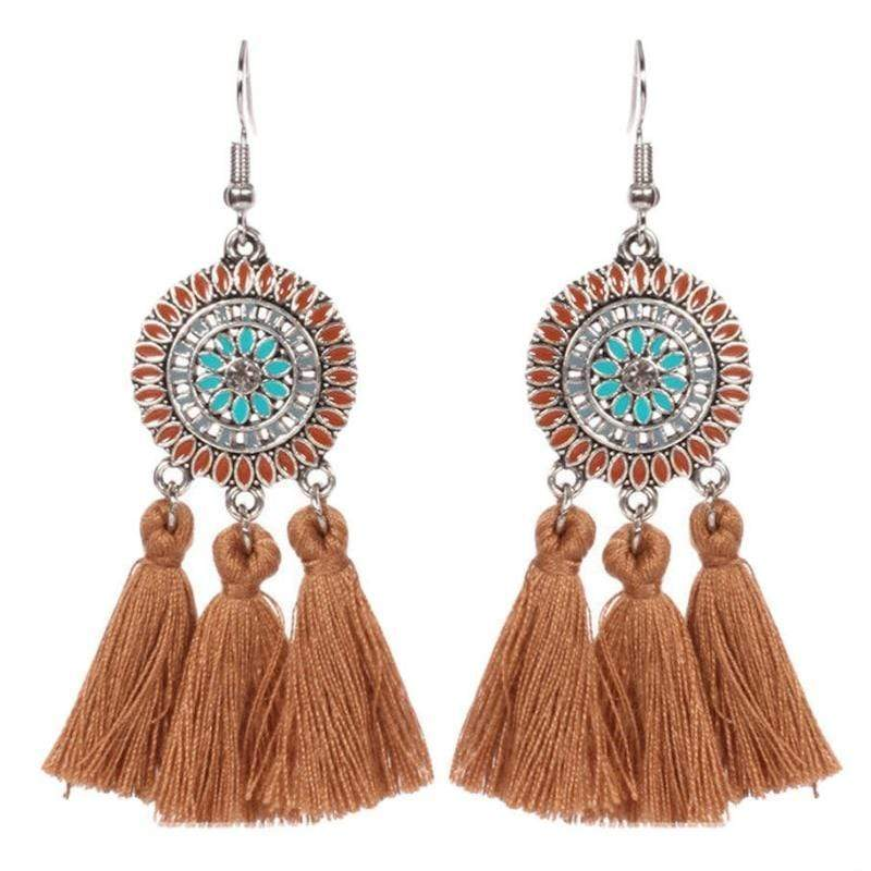 Wicked Wonders VIP Bling Earrings Tasseling Native Brown Tassel Earrings Affordable Bling_Bling Fashion Paparazzi