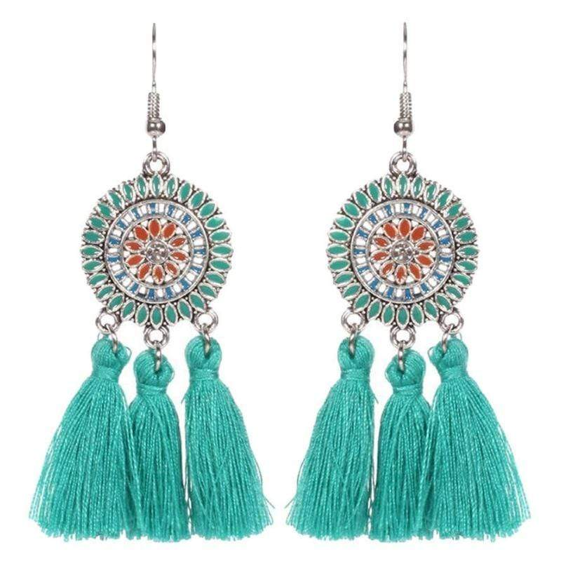 Wicked Wonders VIP Bling Earrings Tasseling Native Teal Tassel Earrings Affordable Bling_Bling Fashion Paparazzi