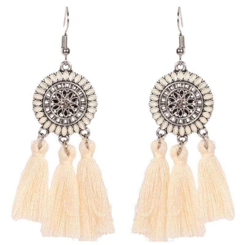 Wicked Wonders VIP Bling Earrings Tasseling Native White Tassel Earrings Affordable Bling_Bling Fashion Paparazzi