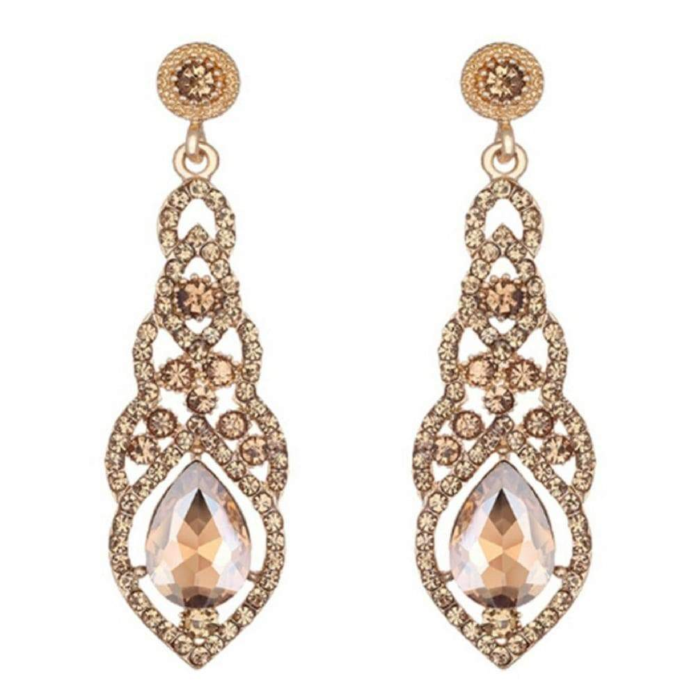 Wicked Wonders VIP Bling Earrings Teardrop Elegance Gold Gem Statement Earrings Affordable Bling_Bling Fashion Paparazzi