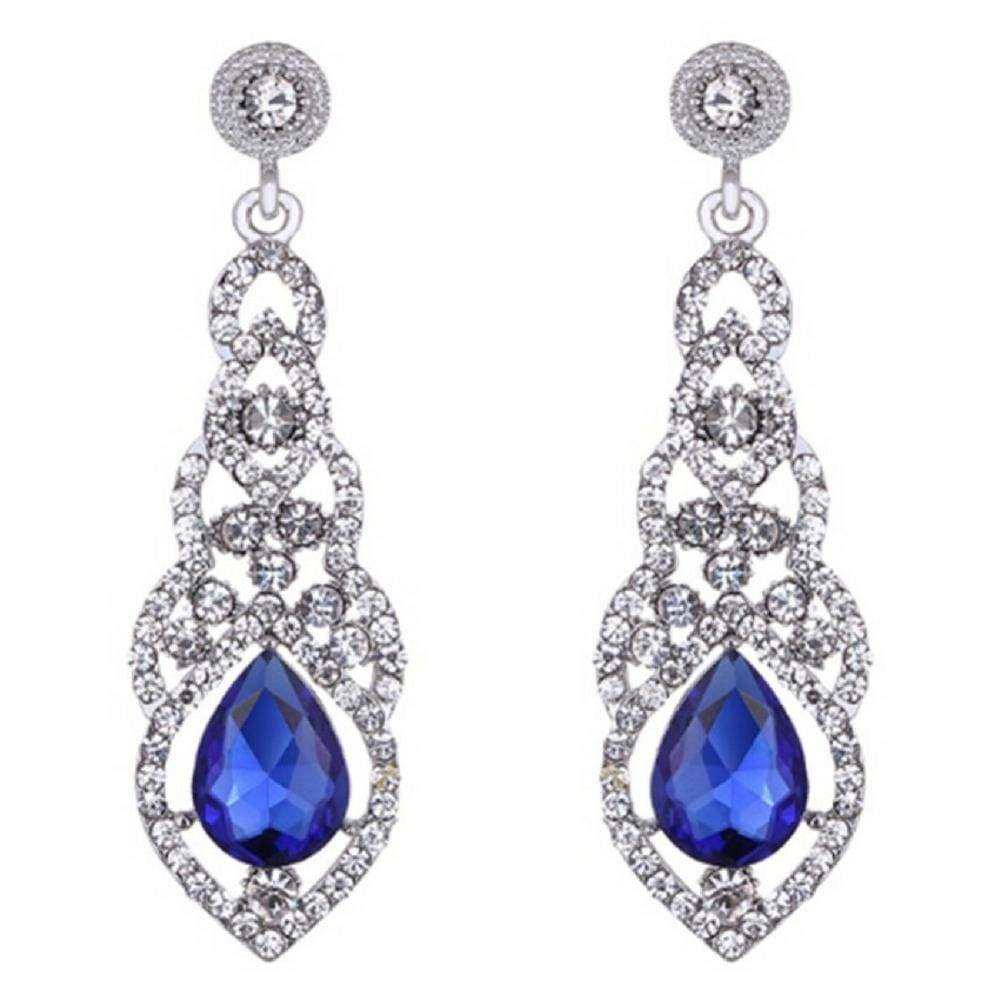 Wicked Wonders VIP Bling Earrings Teardrop Elegance Royal Blue Gem Statement Earrings Affordable Bling_Bling Fashion Paparazzi