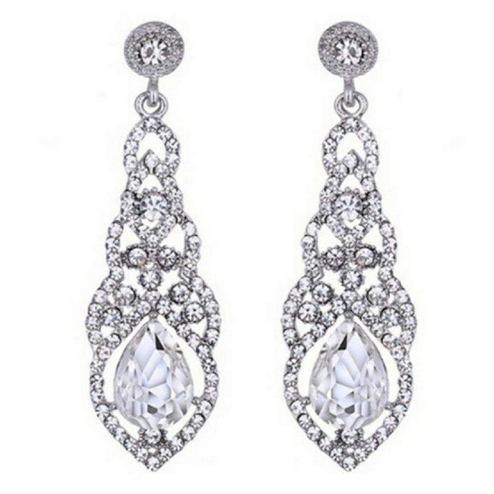 Wicked Wonders VIP Bling Earrings Teardrop Elegance White Gem Statement Earrings Affordable Bling_Bling Fashion Paparazzi