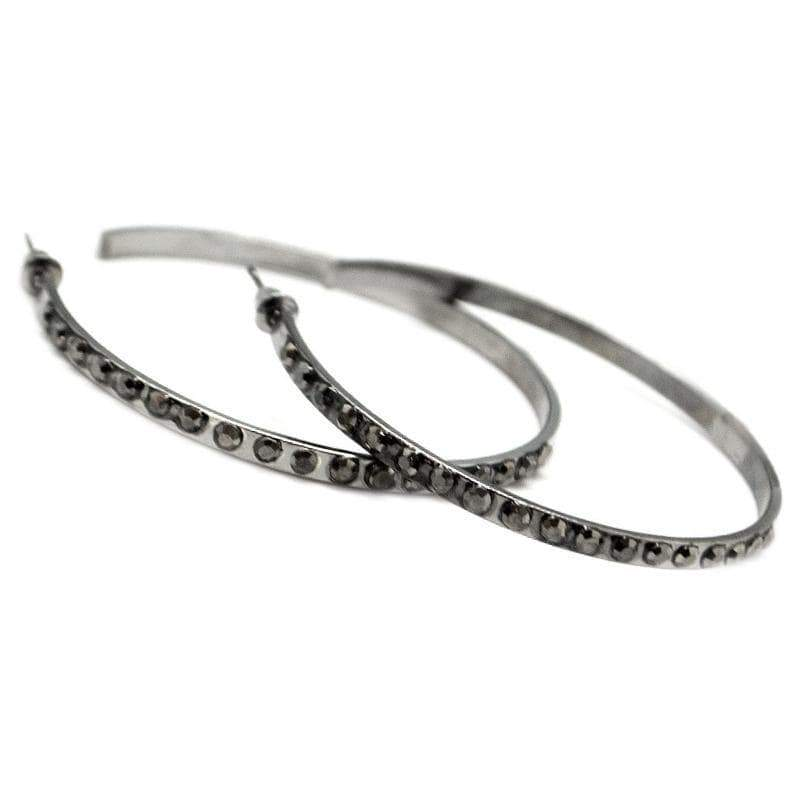 Wicked Wonders VIP Bling Earrings The Radical Gunmetal Black Hoop Earrings Affordable Bling_Bling Fashion Paparazzi