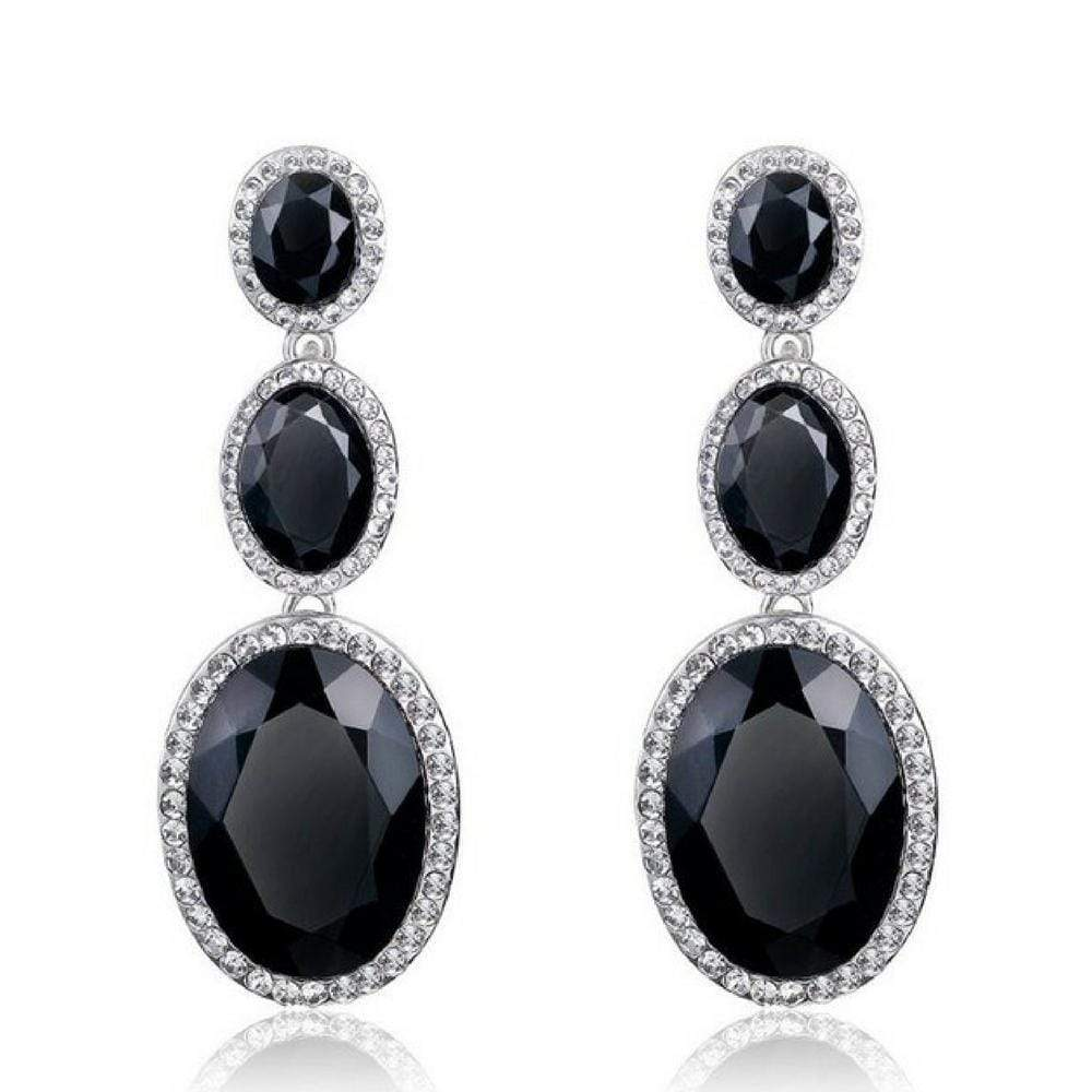 Wicked Wonders VIP Bling Earrings Triple Mic Drop Black Statement Gem Earrings Affordable Bling_Bling Fashion Paparazzi