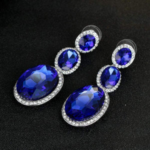 Wicked Wonders VIP Bling Earrings Triple Mic Drop Royal Blue Statement Gem Earrings Affordable Bling_Bling Fashion Paparazzi