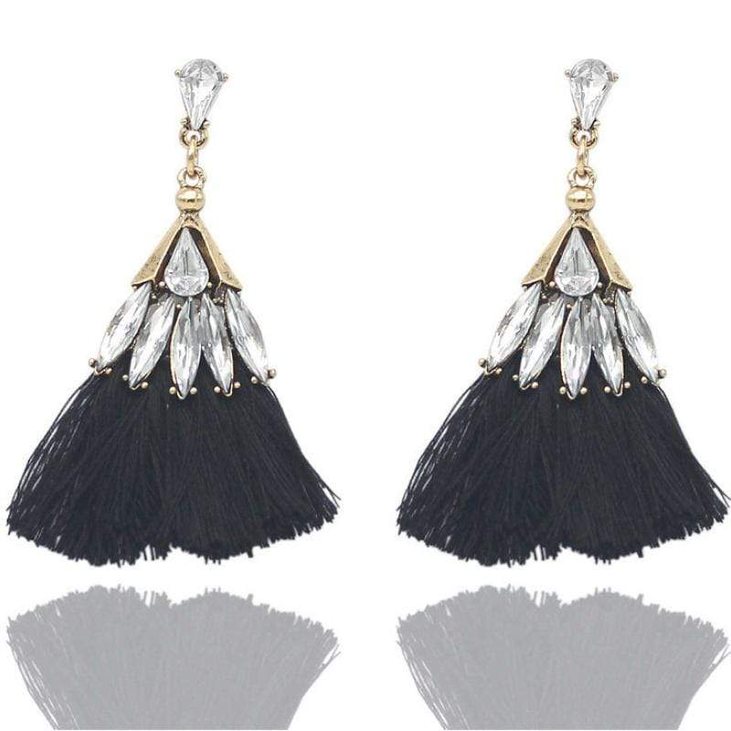 Wicked Wonders VIP Bling Earrings Trixy Tassels Rhinestone and Black Tassel Earrings Affordable Bling_Bling Fashion Paparazzi
