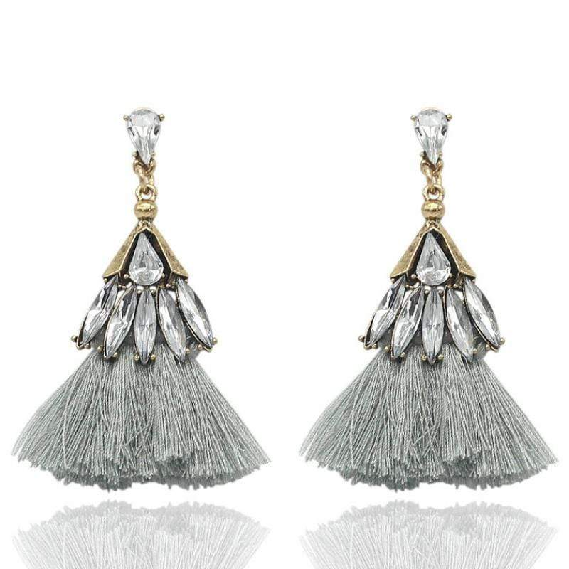 Wicked Wonders VIP Bling Earrings Trixy Tassels Rhinestone and Gray Tassel Earrings Affordable Bling_Bling Fashion Paparazzi