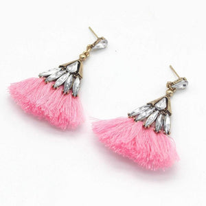 Wicked Wonders VIP Bling Earrings Trixy Tassels Rhinestone and Pink Tassel Earrings Affordable Bling_Bling Fashion Paparazzi