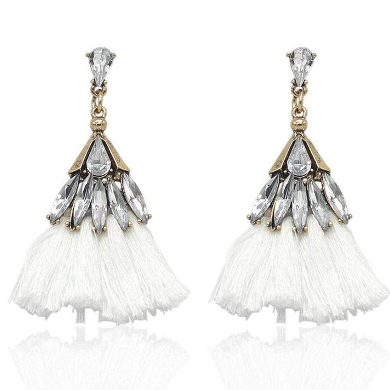 Wicked Wonders VIP Bling Earrings Trixy Tassels Rhinestone and White Tassel Earrings Affordable Bling_Bling Fashion Paparazzi