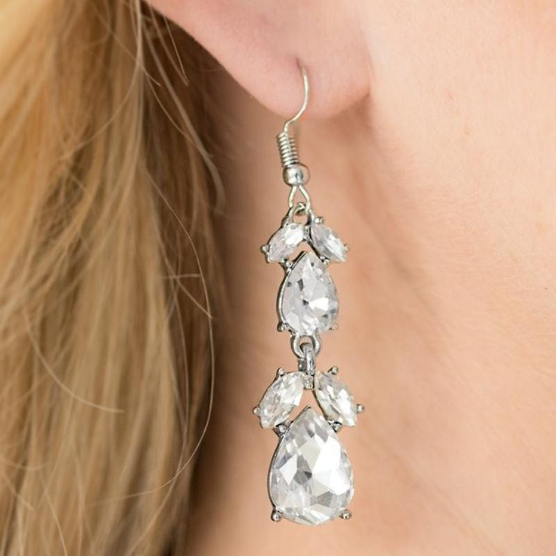 Wicked Wonders VIP Bling Earrings Trophy Hall White Gem Earrings Affordable Bling_Bling Fashion Paparazzi