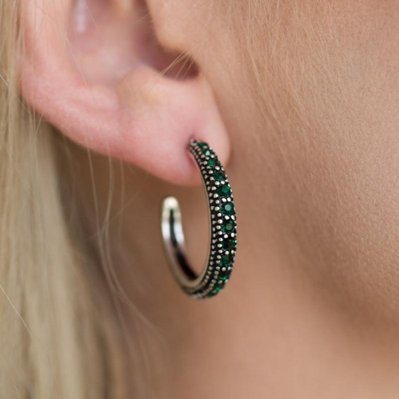 Wicked Wonders VIP Bling Earrings Twinkling Tinseltown Green Gem Hoop Earrings Affordable Bling_Bling Fashion Paparazzi
