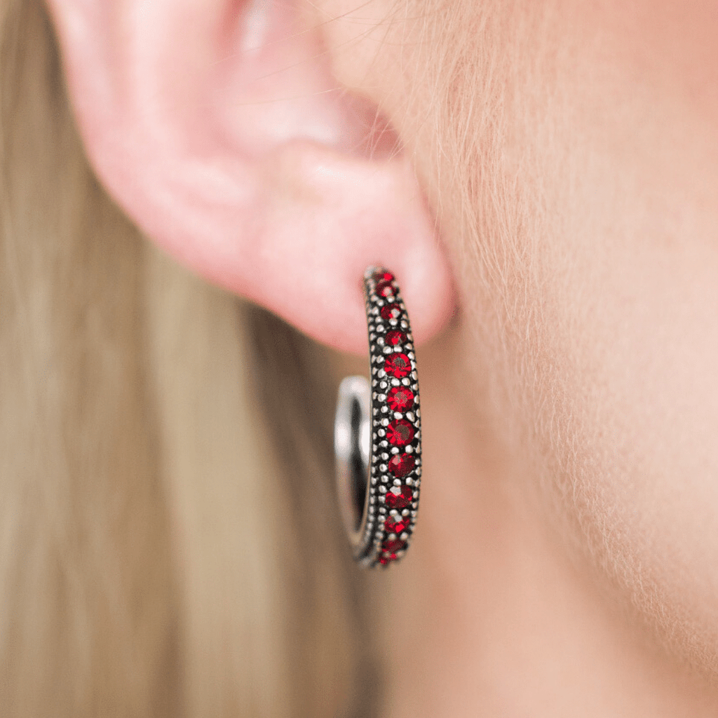 Wicked Wonders VIP Bling Earrings Twinkling Tinseltown Red Gem Hoop Earrings Affordable Bling_Bling Fashion Paparazzi