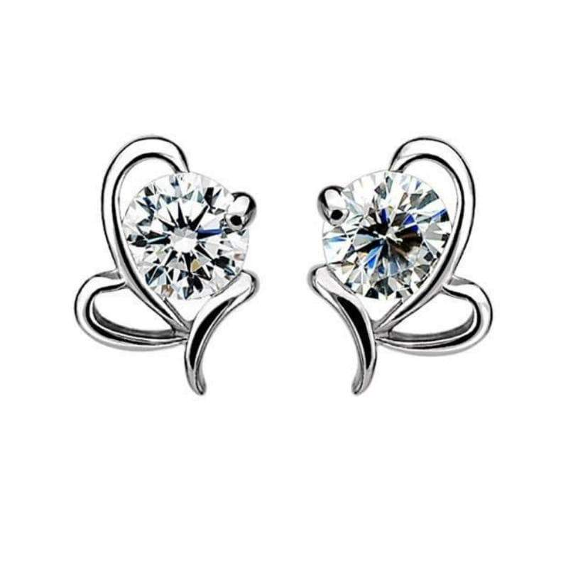 Wicked Wonders VIP Bling Earrings Two of Hearts Silver and White Rhinestone Dainty Post Earrings Affordable Bling_Bling Fashion Paparazzi