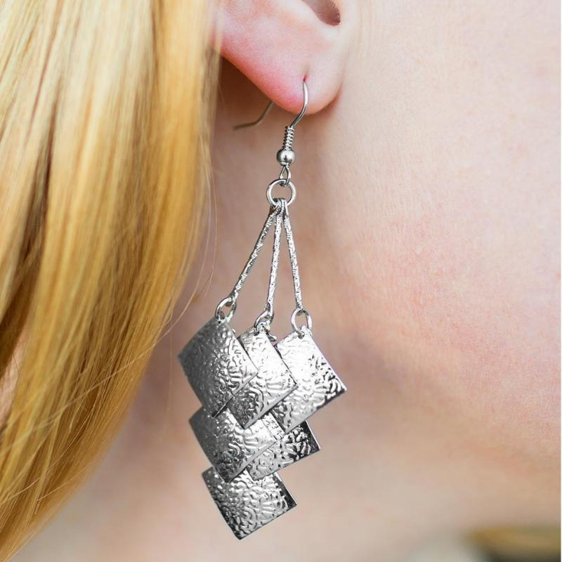 Wicked Wonders VIP Bling Earrings Very Superstitious Silver Earrings Affordable Bling_Bling Fashion Paparazzi