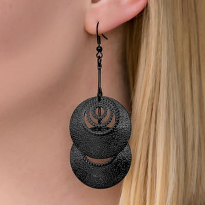 Wicked Wonders VIP Bling Earrings Wanna Race Black Earrings Affordable Bling_Bling Fashion Paparazzi
