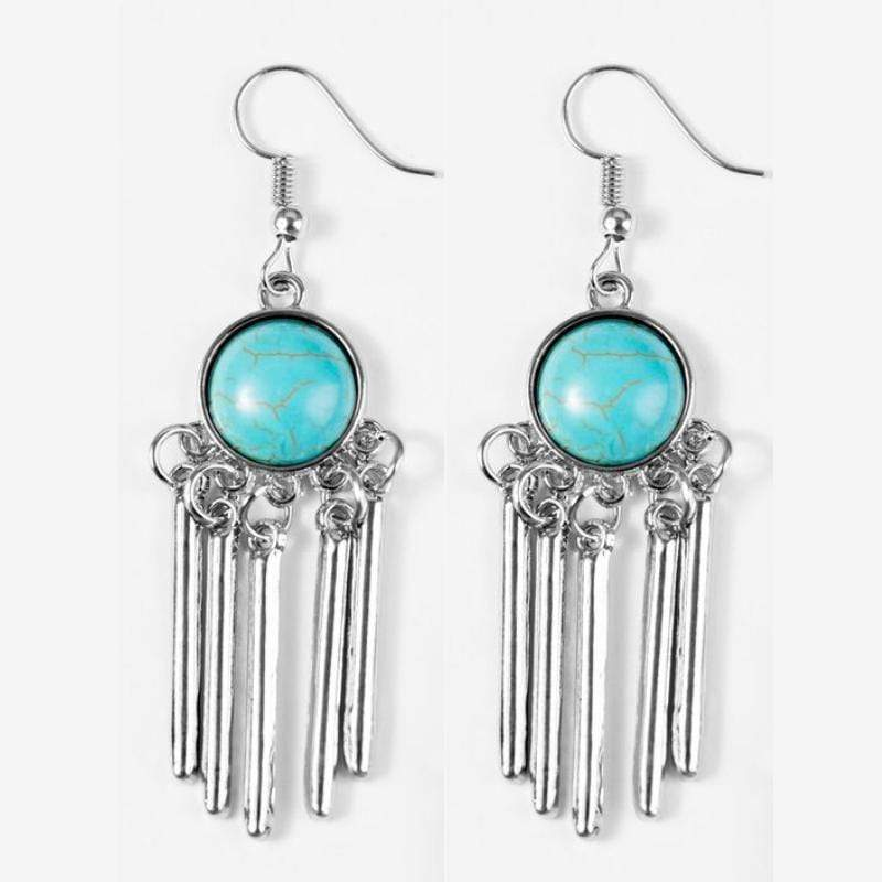 Wicked Wonders VIP Bling Earrings Western Melody Blue Earrings Affordable Bling_Bling Fashion Paparazzi