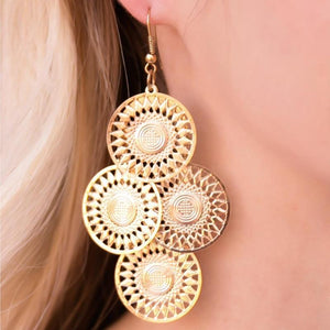 Wicked Wonders VIP Bling Earrings Where The Sun Dont Shine Gold Earrings Affordable Bling_Bling Fashion Paparazzi
