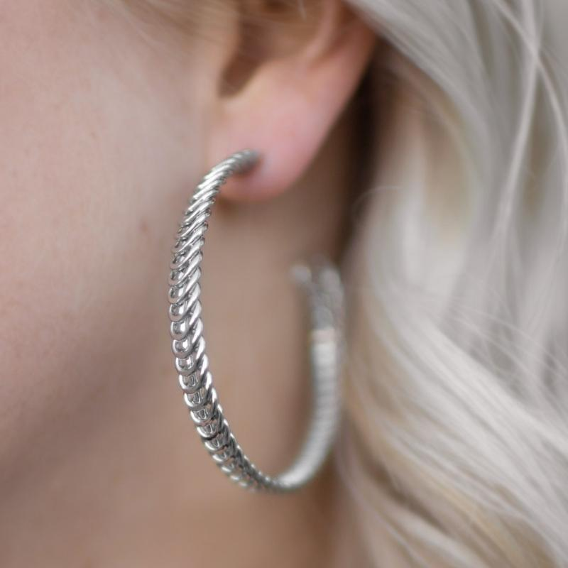 Wicked Wonders VIP Bling Earrings Wind It Up Silver Hoop Earrings Affordable Bling_Bling Fashion Paparazzi