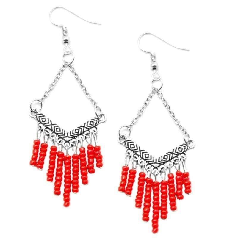 Wicked Wonders VIP Bling Earrings Wind Walker Red Seed Bead Earrings Affordable Bling_Bling Fashion Paparazzi