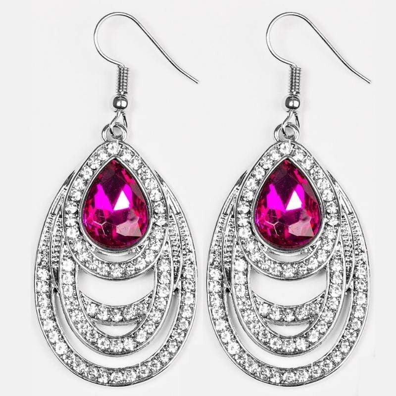Wicked Wonders VIP Bling Earrings You're The GLAM! Pink Gem Earrings Affordable Bling_Bling Fashion Paparazzi