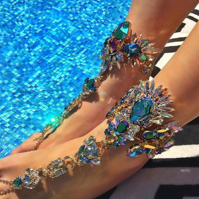 Wicked Wonders VIP Bling Footwear Bohemian Barefoot Sandals Pair - Blue - One Size Affordable Bling_Bling Fashion Paparazzi