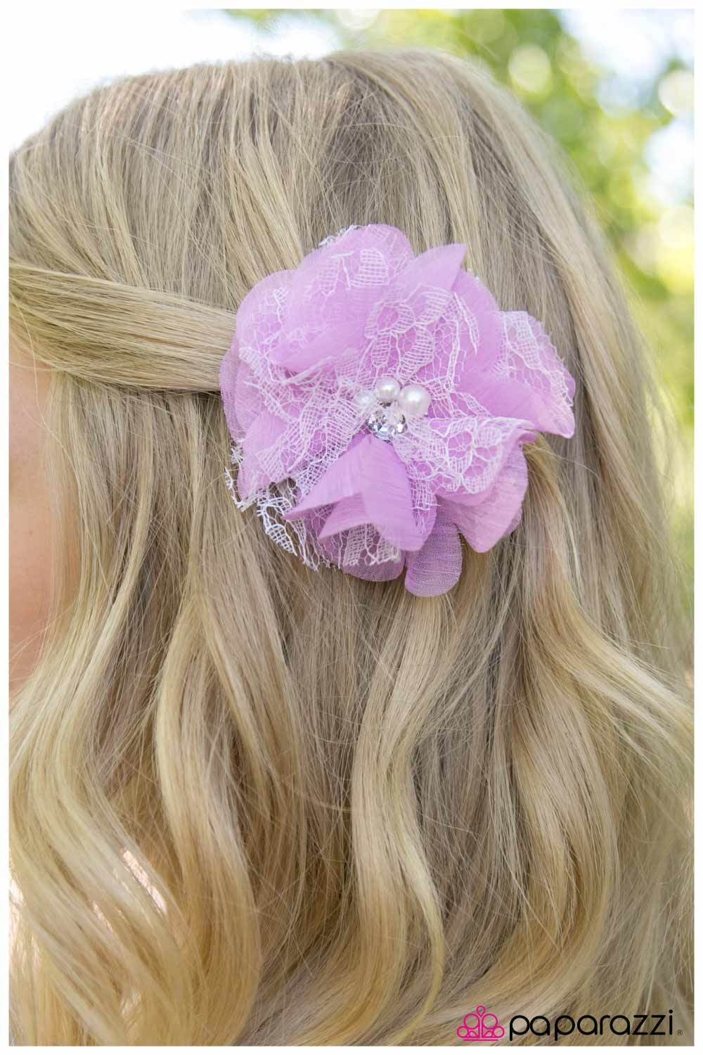 Wicked Wonders VIP Bling Hair Clip Chantilly Lace Purple Hair Clip Affordable Bling_Bling Fashion Paparazzi