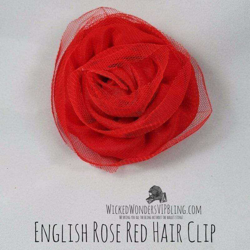 Wicked Wonders VIP Bling Hair Clip English Rose Red Hair Clip Affordable Bling_Bling Fashion Paparazzi