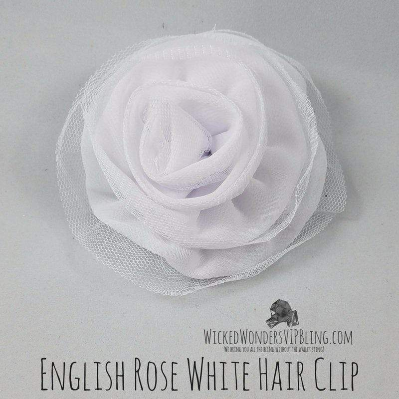 Wicked Wonders VIP Bling Hair Clip English Rose White Hair Clip Affordable Bling_Bling Fashion Paparazzi