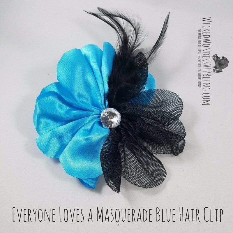 Wicked Wonders VIP Bling Hair Clip Everyone Loves a Masquerade Blue Hair Clip Affordable Bling_Bling Fashion Paparazzi