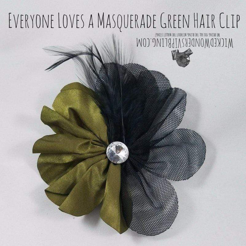 Wicked Wonders VIP Bling Hair Clip Everyone Loves a Masquerade Green Hair Clip Affordable Bling_Bling Fashion Paparazzi
