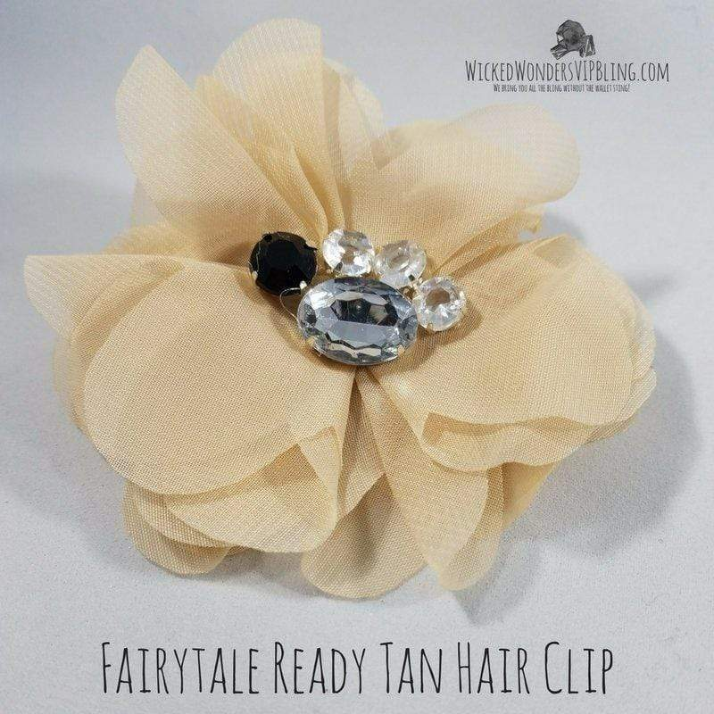 Wicked Wonders VIP Bling Hair Clip Fairy Tale Ready Tan Hair Clip Affordable Bling_Bling Fashion Paparazzi