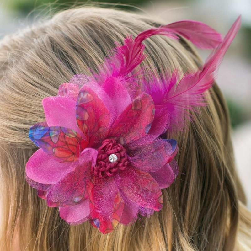 Wicked Wonders VIP Bling Hair Clip Flair for the Dramatic Pink Feather Hair Clip Affordable Bling_Bling Fashion Paparazzi