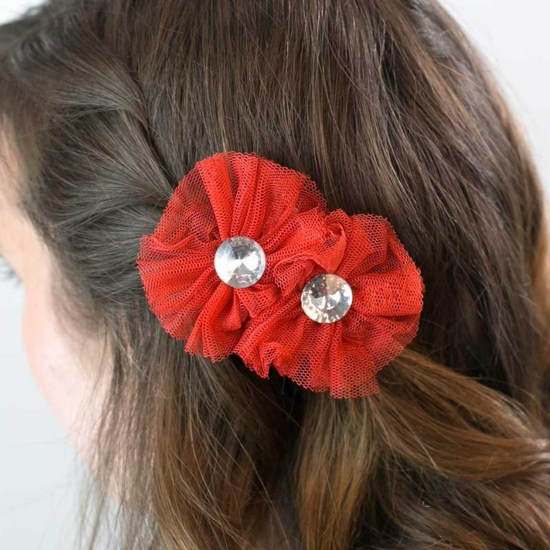Wicked Wonders VIP Bling Hair Clip Yes, Darling Red Hair Clips Affordable Bling_Bling Fashion Paparazzi