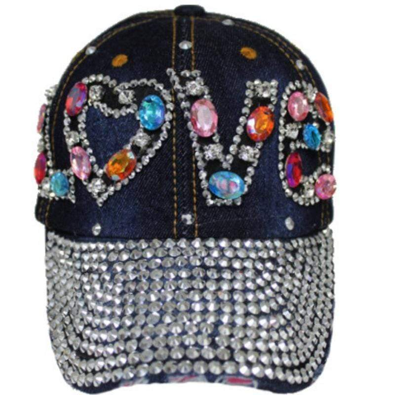Wicked Wonders VIP Bling Hat Love Multi Crystal & Rhinestone Bling Bling Studs Denim Cap Dark Blue Affordable Bling_Bling Fashion Paparazzi