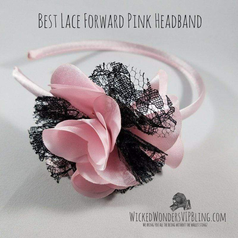 Wicked Wonders VIP Bling Headband Best Lace Forward Pink Headband Affordable Bling_Bling Fashion Paparazzi