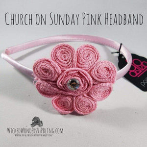 Wicked Wonders VIP Bling Headband Church on Sunday Pink Headband Affordable Bling_Bling Fashion Paparazzi