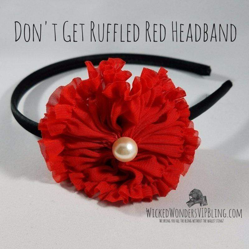 Wicked Wonders VIP Bling Headband Don't Get Ruffled Red Headband Affordable Bling_Bling Fashion Paparazzi