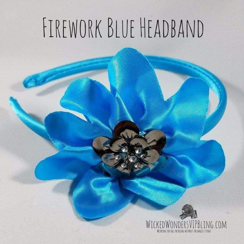 Wicked Wonders VIP Bling Headband Firework Blue Headband Affordable Bling_Bling Fashion Paparazzi