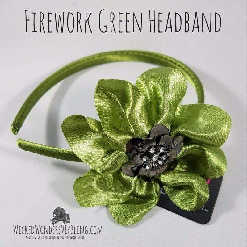 Wicked Wonders VIP Bling Headband Firework Green Headband Affordable Bling_Bling Fashion Paparazzi