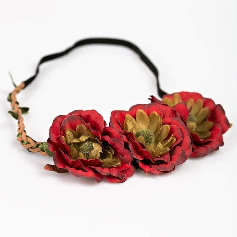 Wicked Wonders VIP Bling Headband Forest Flower Red Hippie Headband Affordable Bling_Bling Fashion Paparazzi