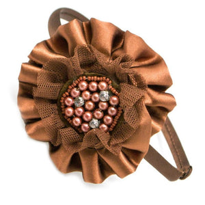 Wicked Wonders VIP Bling Headband Meet Your Match Brown Satin Headband Affordable Bling_Bling Fashion Paparazzi